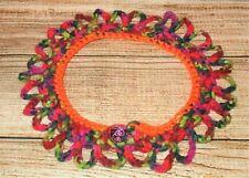 Neck Collar Multi red/orange for Dolls or Pet Costume scarf dog cat crochet