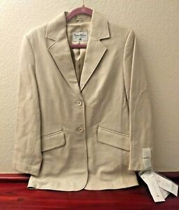 NEW Pamela McCoy Beige Leather Jacket Coat Woman's size small, New with tags