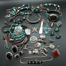 Southwestern Navajo Native Sterling Silver Mixed Jewelry Lot Turquoise Rings...