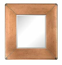 Rectangular Copper Frame Mirror with Beveled Glass