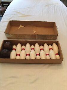 """Buckeye Vintage Wooden 7.5"""" Ten Pin Bowling Set Game w Balls"""