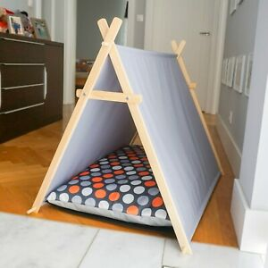 Orange dots dog tent, dog hut, dog waterproof bed with wooden stand, dog cabin