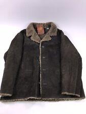 Vintage Leather Suede Sherpa Western Rancher Coat Jacket Marlboro Men's XL
