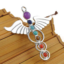 Cute for Necklace Retro Natural GEMSTONE Bead Reiki Chakra Healing Point Pendant Angel Wings