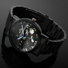 Mens Luxury Automatic Mechanical Skeleton Dial Black Stainless Steel Wrist Watch