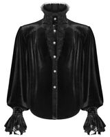 Punk Rave Mens Gothic Poet Shirt Top Black Velvet Lace Steampunk Vampire Regency