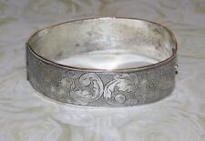Vtg Antique ~ 1900 VICTORIAN Silver WILD ROSES Hinged Bangle BRACELET Tab-Clasp