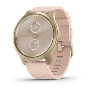 Vivomove style Light Gold Aluminium Case with Blush Pink Woven Nylon Band