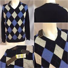 Tasso Elba Sweater M Blue Arguyle 100% Cashmere V Neck NWT YGI 6357