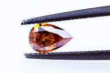 Natural GIA Certified 0.34ct Fancy Deep Brownish Yellowish Orange Pear Diamond