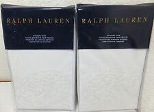 """NEW - Ralph Lauren (2) Standard Shams """"Tuxedo Park White"""" CARMEN White MSRP $510"""