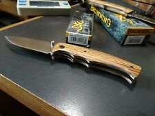 "BROWNING POCKET KNIFE 4.75"" CLOSED  ZEBRA WOOD LINERLOCK 440 STAINLESS BLADE"