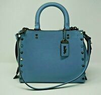 Coach 1941 Rogue 25 with Rivets Slate Blue Leather Satchel Shoulder Bag 53405