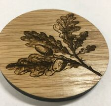 wooden coasters laser cut 8mm thick white oak solid drink mats painted 90mm