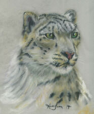 10x8 print Snow Leopard big cat pastel painting animal art Andy Currie-Scarr