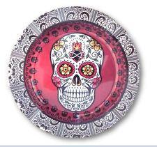 Sugar Skull Design Round Tin Ashtray 5 1/4 Inches Wide New