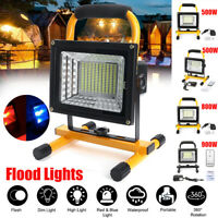 500W/800W/900W LED Flood Light Spot Work Camping Outdoor Lamp Remote Control USB