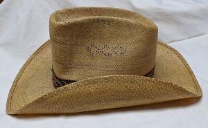 Vintage Straw Cowboy hat - Levi's Orange tag  - 70's style Macramé hat band