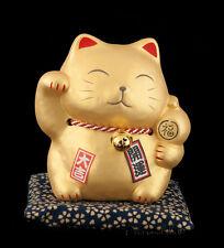 Tirelire Chat Japonais Dore Maneki Neko en Ceramique Made In Japan  308-MIL7
