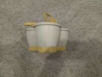 Vintage Tupperware Condiment Caddy Three Containers w/ Lids & Holder Almond