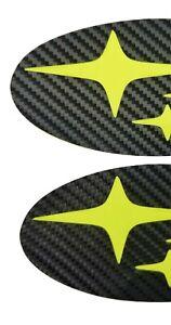 Acid Green Carbon Fiber EMBLEM Overlays PRECUT Badge F/R Xtrek 13-17