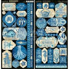 "Graphic 45 6""x12"" Stickers 2pcs - Ocean Blue"