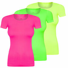 Assoluta Damen Sport T-Shirt kurzarm in neon Farben grün orange pink gelb