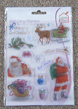 CREATE & CRAFT A5 Clear Stamps CHRISTMAS STAMP KIT Santa Reindeer Sleigh 179580