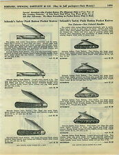 1934 ADVERTISEMENT Schrade's Safety Push Button Pocket Knife Knives Switchblade