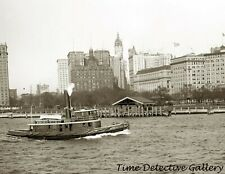 Tugboat on the River near Battery Park, New York - c.1900 - Historic Photo Print