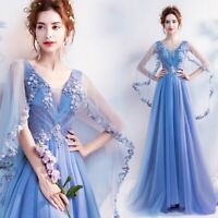 Elegant Womens Embroidery Flowers V neck Long Dress Wedding Evening Dress New