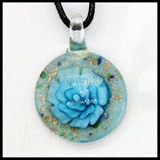 Fashion Women's round lampwork Murano art glass beaded pendant necklace #A178
