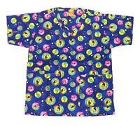 Nickelodeon Nursing Medical Pediatric Scrubs Shirt Top Sponge Bob Blue M
