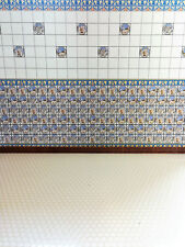 Dollhouse Miniature Blue & White Wall Tiles Textured 1:12 Scale for Kitchens