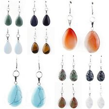 Womens Fashion Natural Stone Opal Turquoise Agate Jade Hook Drop Dangle Earrings