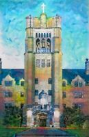 PRINT St Marys College Le Mans Hall Campus Grad Gift Painting Wall Art 17""