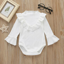 2019 Newborn Infant Baby GIrls Long Sleeve Frill Solid Romper Bodysuit Clothes