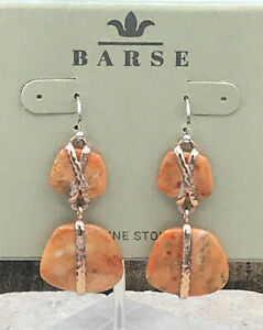 Barse Juxtapose Earrings- Sponge Coral & Copper- New With Tags