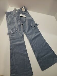 Gymboree Snow Princess blue velveteen cargo bell bottom pants girls size 12 plus