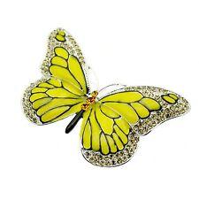 Butterfly Brooch  Pin Yellow Enamel + Rhinestones Vintage Design