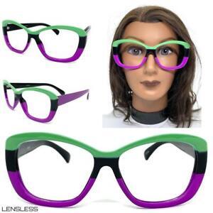 Women's Classy Elegant Funky Lensless Eye Glasses Colorful Frame Only NO Lens