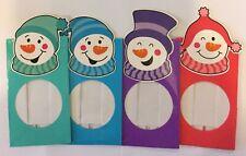 4 x Christmas sweet treat chocolate bags 14.5 x 8.5cm Snowman purple blue pink