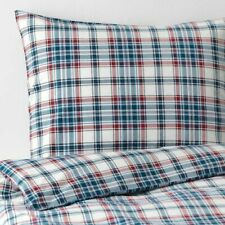 IKEA MOSSRUTA Duvet Cover NEW Queen Double Full Red/White/Blue Flannel Plaid
