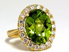 GIA CERTIFIED 9.80ct NATURAL VIVID GREEN PERIDOT DIAMOND RING HALO ROSE CUT