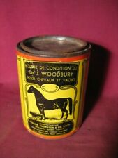 Antique Dr. J Woodbury's Condition Powder For Horses & Cattle Veterinary Tin