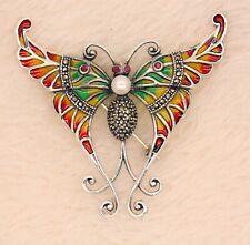 925 Plata de Ley Frío Esmaltado Rubí Pearl Marcasita Broche Colgante de Mariposa