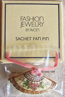 """Vintage 1982 Avon """"SACHET FAN"""" Scented Pillow-Soft Fabric Brooch Pin - SEALED!"""