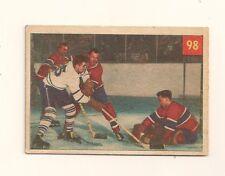 1954-55 Parkhurst Hockey #98 Plante Protects Against Slippery Sloan