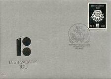 More details for estonia 2018 fdc republic of estonia centenary 1v cover silver stamp stamps