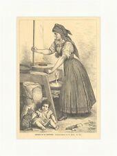 Slowakin bei der Handmühle Mais Baby Katzen Hausfrauen Mehl Holzstich E 3803